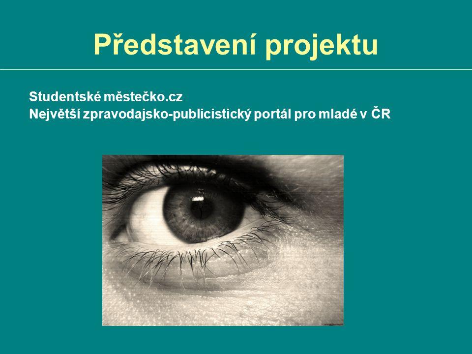 Představení projektu Studentské městečko.cz Největší zpravodajsko-publicistický portál pro mladé v ČR