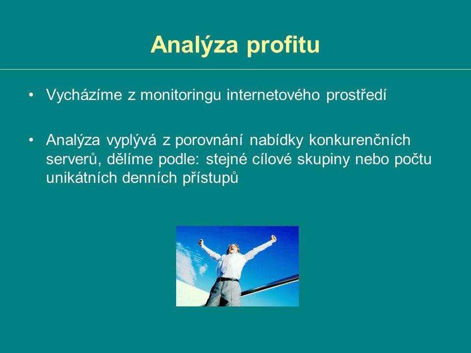Analýza profitu Vycházíme z monitoringu internetového prostředí Analýza vyplývá z porovnání nabídky konkurenčních serverů, dělíme podle: stejné cílové skupiny nebo počtu unikátních denních přístupů