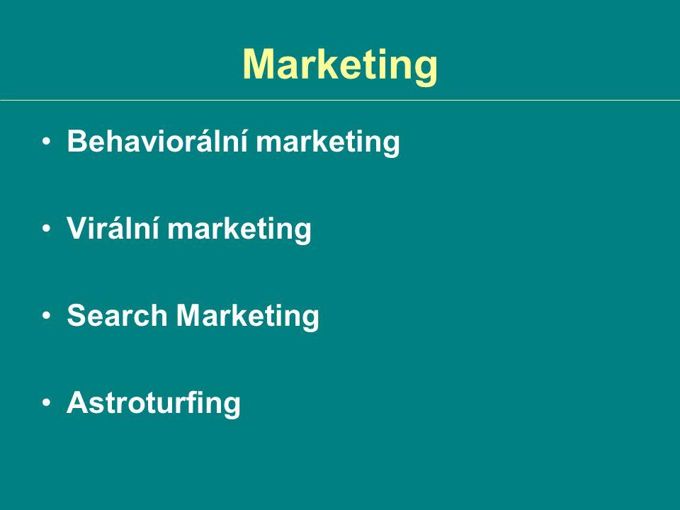 Marketing Behaviorální marketing Virální marketing Search Marketing Astroturfing