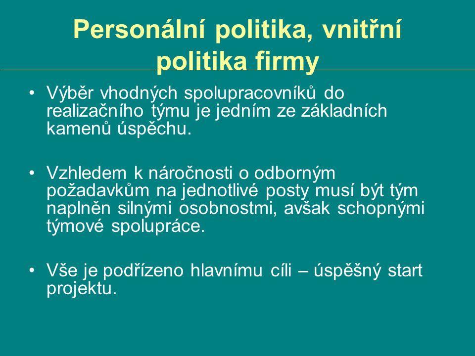 Personální politika, vnitřní politika firmy Výběr vhodných spolupracovníků do realizačního týmu je jedním ze základních kamenů úspěchu. Vzhledem k nár