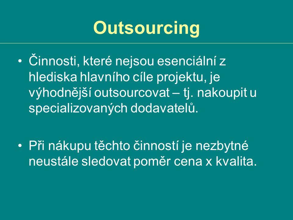 Outsourcing Činnosti, které nejsou esenciální z hlediska hlavního cíle projektu, je výhodnější outsourcovat – tj. nakoupit u specializovaných dodavate