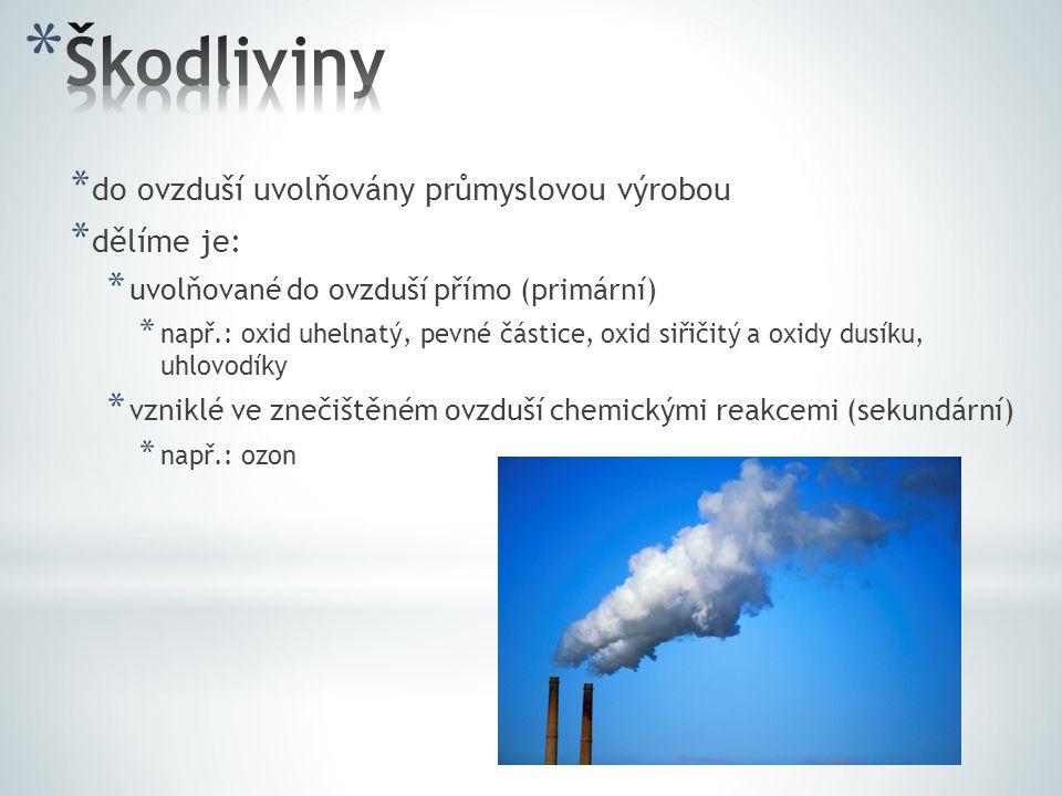 * do ovzduší uvolňovány průmyslovou výrobou * dělíme je: * uvolňované do ovzduší přímo (primární) * např.: oxid uhelnatý, pevné částice, oxid siřičitý