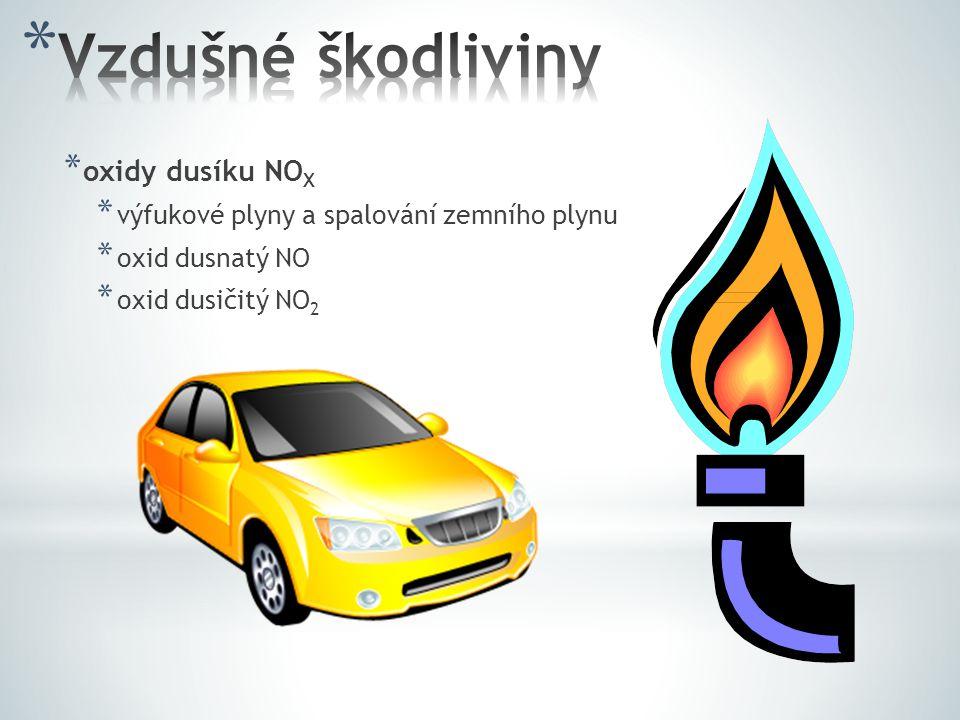 * oxidy dusíku NO X * výfukové plyny a spalování zemního plynu * oxid dusnatý NO * oxid dusičitý NO 2
