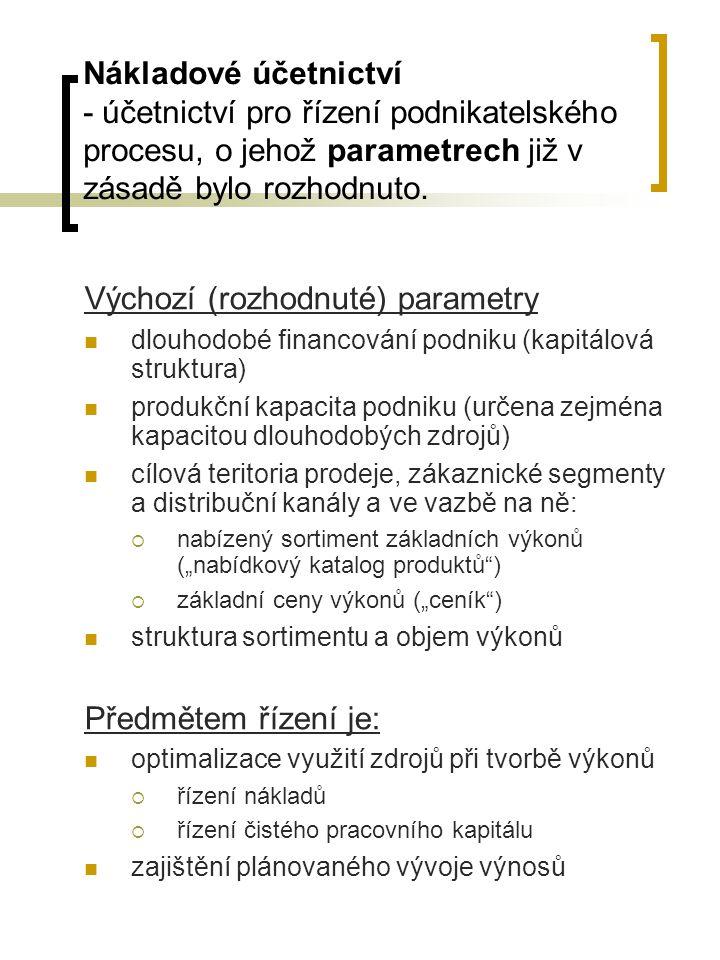 Nákladové účetnictví - účetnictví pro řízení podnikatelského procesu, o jehož parametrech již v zásadě bylo rozhodnuto.