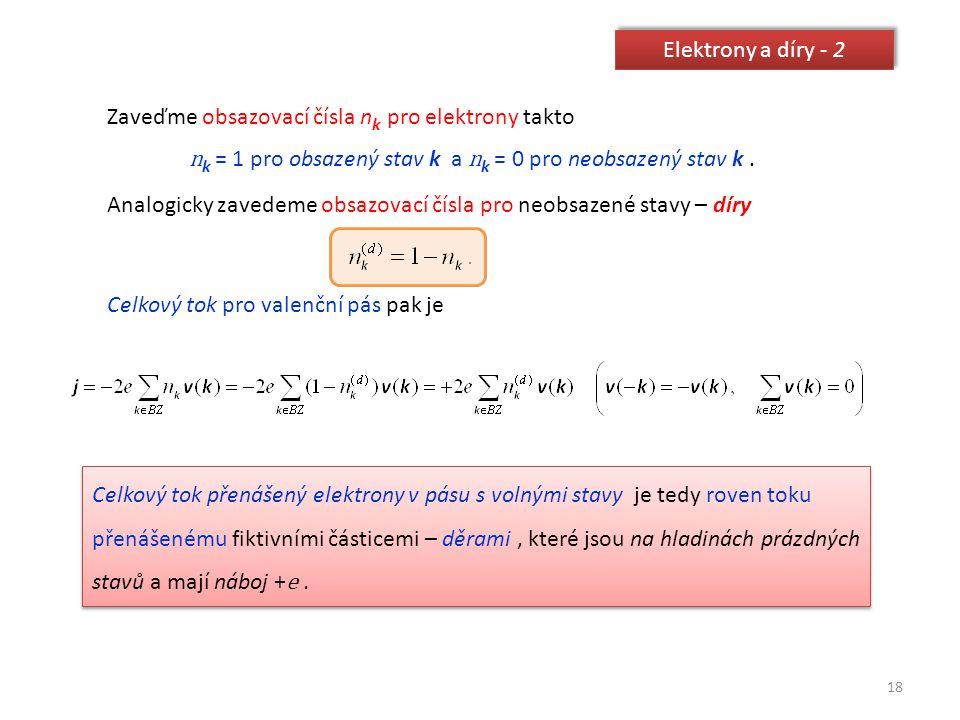 18 Elektrony a díry - 2 Zaveďme obsazovací čísla n k pro elektrony takto n k = 1 pro obsazený stav k a n k = 0 pro neobsazený stav k. Analogicky zaved