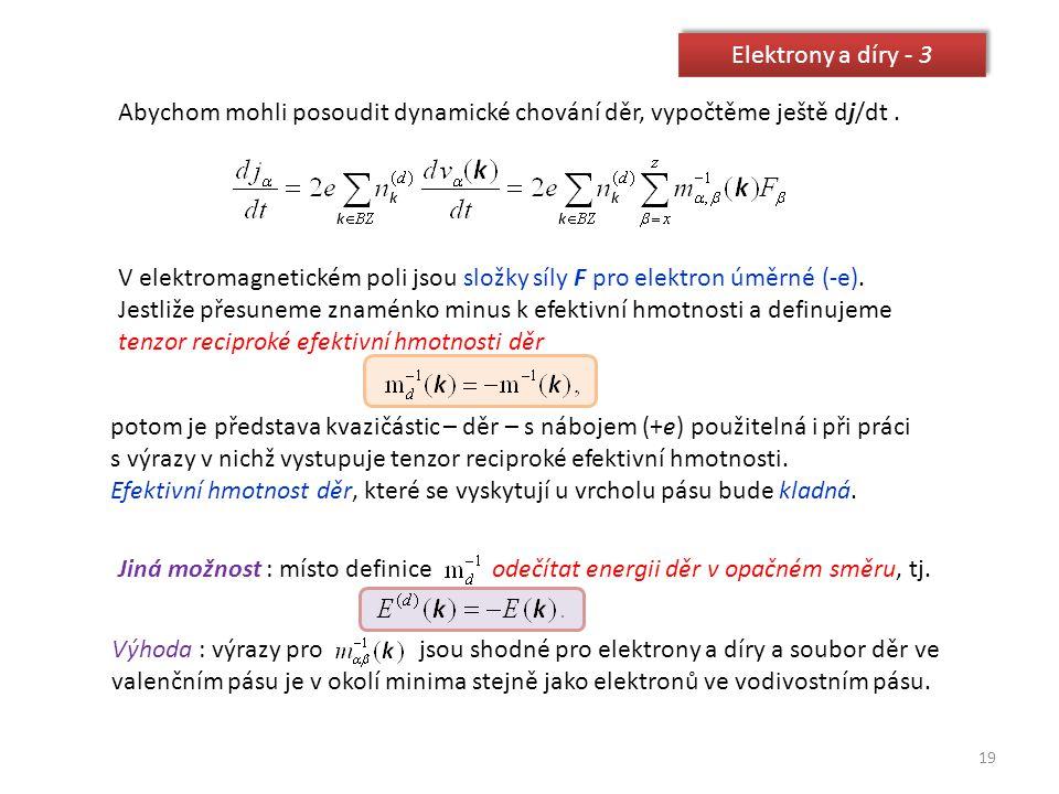 19 Elektrony a díry - 3 Abychom mohli posoudit dynamické chování děr, vypočtěme ještě dj/dt. V elektromagnetickém poli jsou složky síly F pro elektron