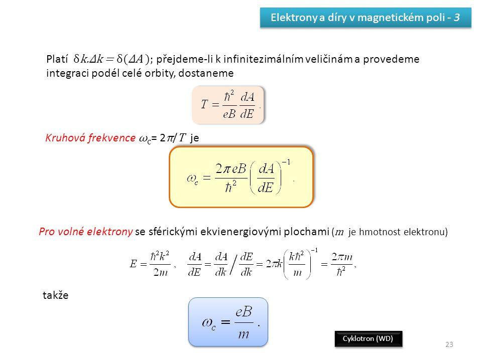 23 Elektrony a díry v magnetickém poli - 3 Platí δk.Δk = δ(ΔA ); přejdeme-li k infinitezimálním veličinám a provedeme integraci podél celé orbity, dos