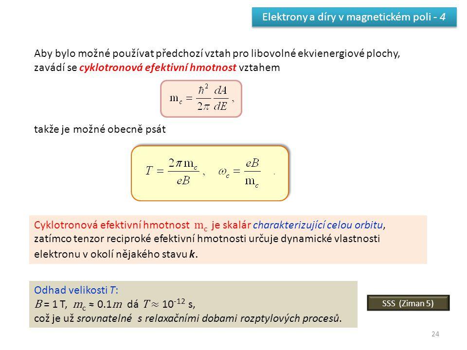 24 Elektrony a díry v magnetickém poli - 4 Aby bylo možné používat předchozí vztah pro libovolné ekvienergiové plochy, zavádí se cyklotronová efektivn