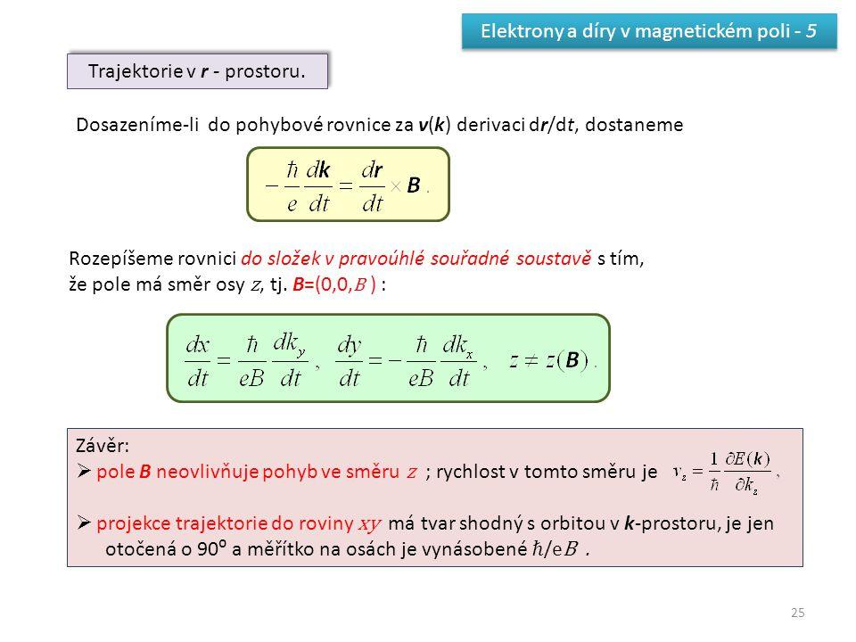 25 Elektrony a díry v magnetickém poli - 5 Trajektorie v r - prostoru. Dosazeníme-li do pohybové rovnice za v(k) derivaci dr/dt, dostaneme Rozepíšeme