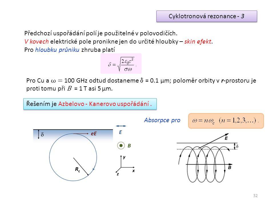 32 Cyklotronová rezonance - 3 Předchozí uspořádání polí je použitelné v polovodičích. V kovech elektrické pole pronikne jen do určité hloubky – skin e