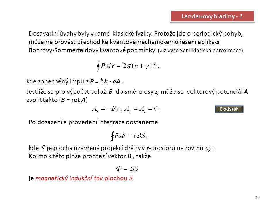 34 Landauovy hladiny - 1 Dosavadní úvahy byly v rámci klasické fyziky. Protože jde o periodický pohyb, můžeme provést přechod ke kvantověmechanickému