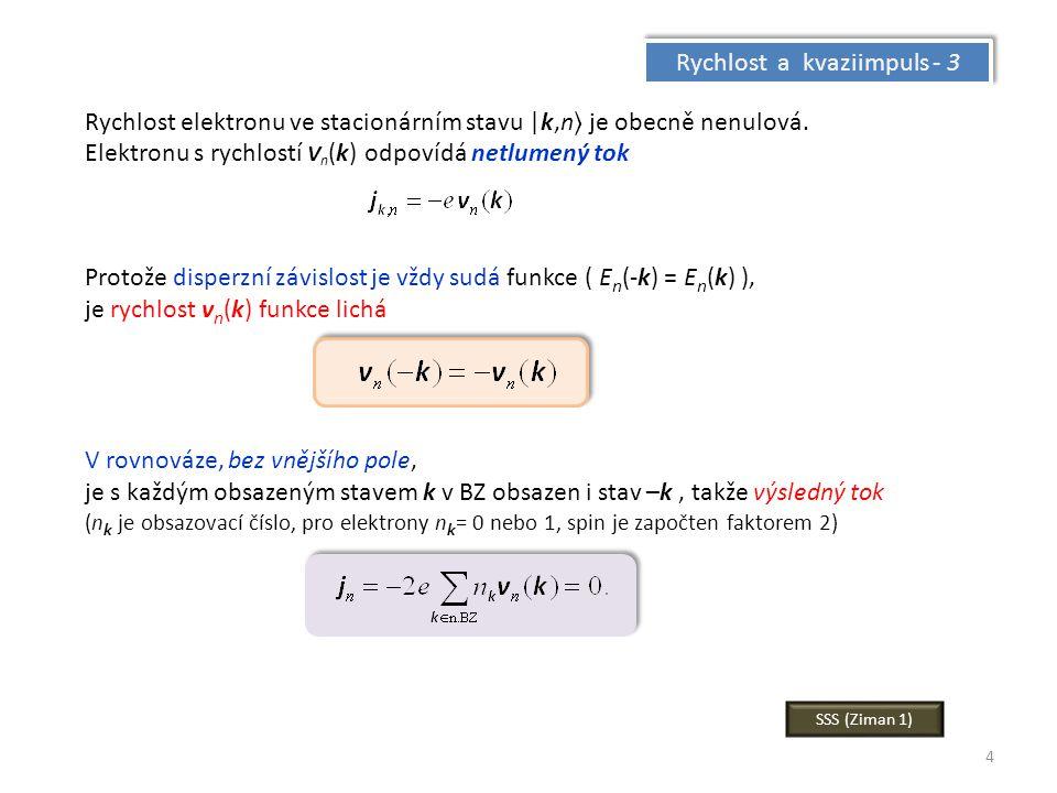 4 Rychlost a kvaziimpuls - 3 Rychlost elektronu ve stacionárním stavu |k,n je obecně nenulová. Elektronu s rychlostí V n (k) odpovídá netlumený tok Pr