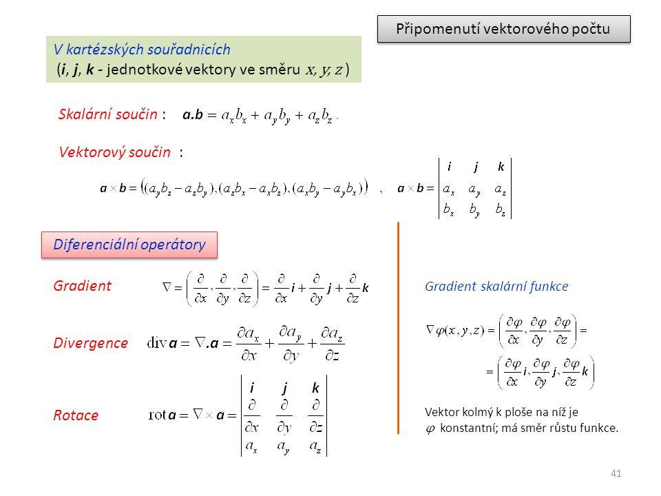 41 Připomenutí vektorového počtu V kartézských souřadnicích (i, j, k - jednotkové vektory ve směru x, y, z ) Skalární součin : Diferenciální operátory