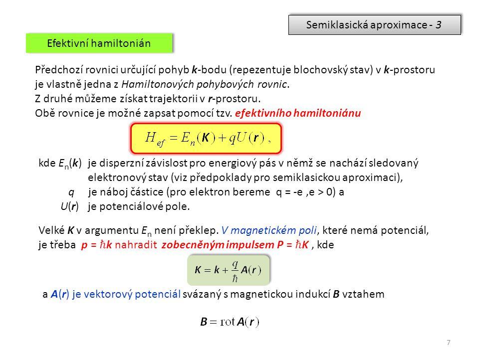 7 Semiklasická aproximace - 3 Předchozí rovnici určující pohyb k-bodu (repezentuje blochovský stav) v k-prostoru je vlastně jedna z Hamiltonových pohy