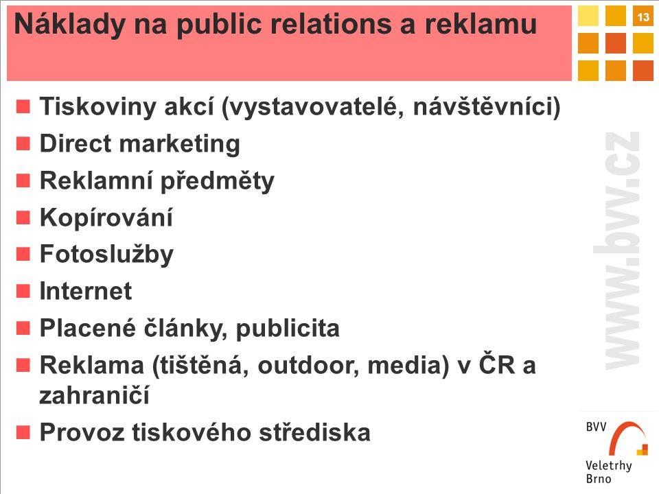 13 Náklady na public relations a reklamu Tiskoviny akcí (vystavovatelé, návštěvníci) Direct marketing Reklamní předměty Kopírování Fotoslužby Internet Placené články, publicita Reklama (tištěná, outdoor, media) v ČR a zahraničí Provoz tiskového střediska