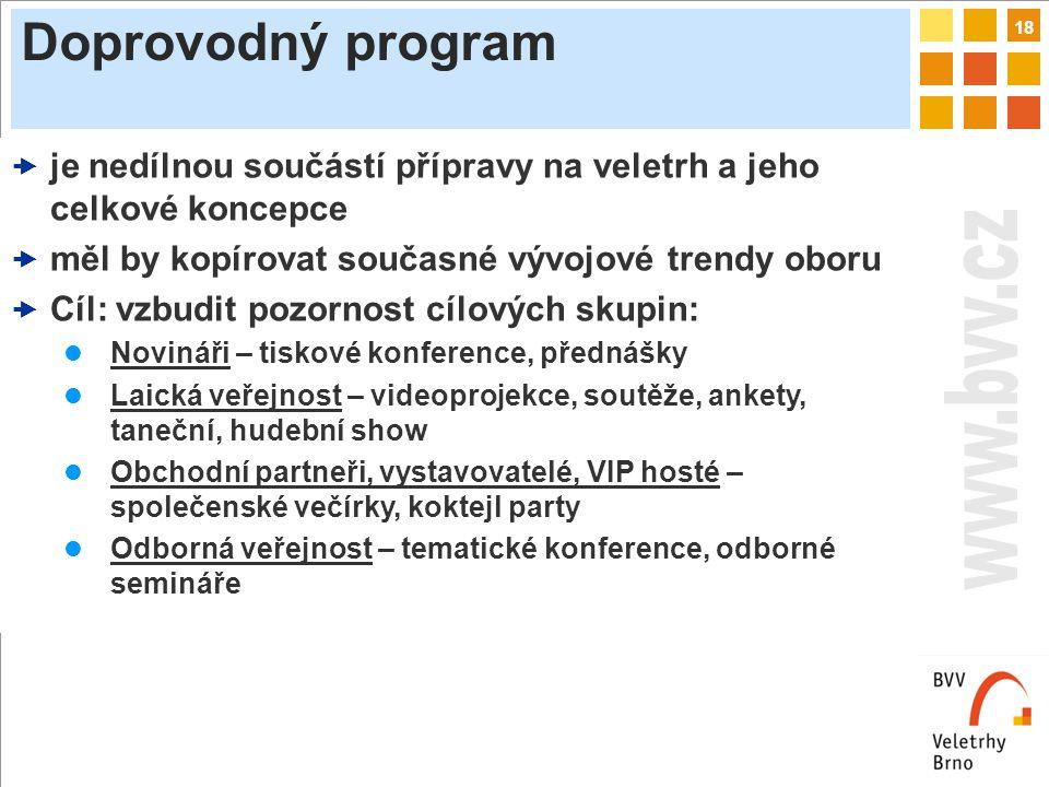 18 Doprovodný program  je nedílnou součástí přípravy na veletrh a jeho celkové koncepce  měl by kopírovat současné vývojové trendy oboru  Cíl: vzbudit pozornost cílových skupin: Novináři – tiskové konference, přednášky Laická veřejnost – videoprojekce, soutěže, ankety, taneční, hudební show Obchodní partneři, vystavovatelé, VIP hosté – společenské večírky, koktejl party Odborná veřejnost – tematické konference, odborné semináře