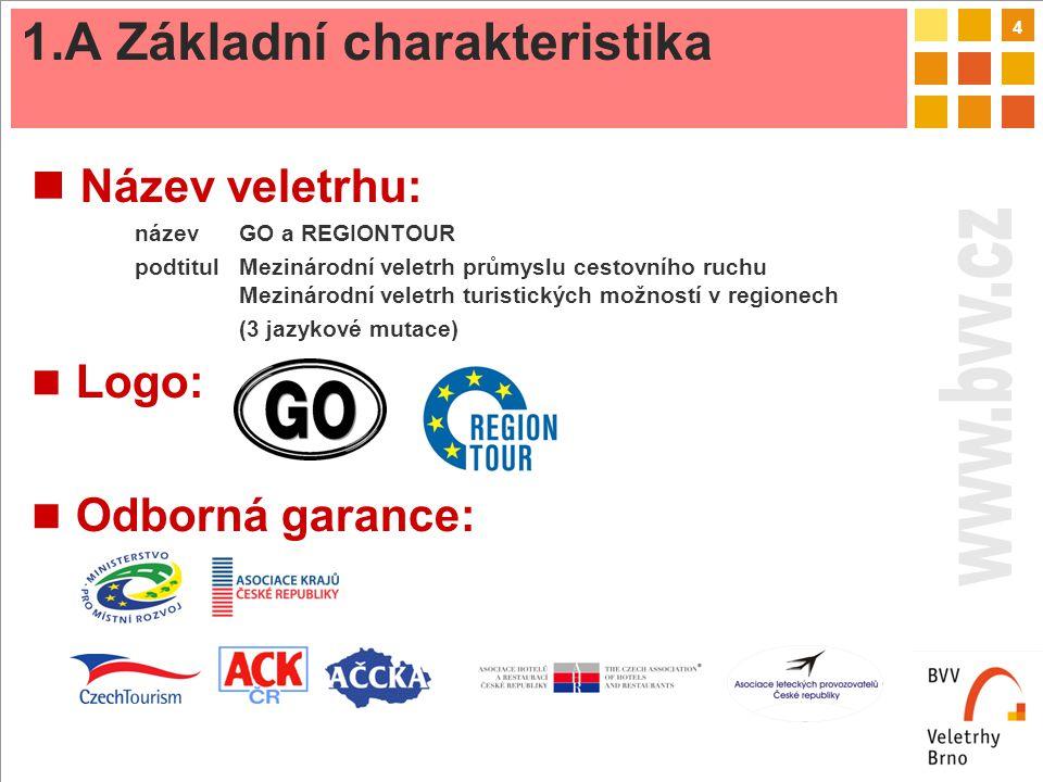 4 Název veletrhu: název GO a REGIONTOUR podtitulMezinárodní veletrh průmyslu cestovního ruchu Mezinárodní veletrh turistických možností v regionech (3 jazykové mutace) Logo: Odborná garance: 1.A Základní charakteristika