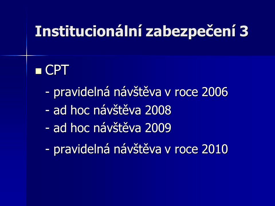 Institucionální zabezpečení 3 CPT CPT - pravidelná návštěva v roce 2006 - ad hoc návštěva 2008 - ad hoc návštěva 2009 - pravidelná návštěva v roce 201