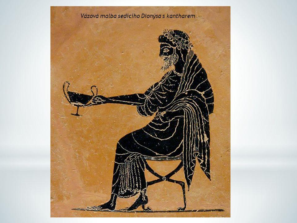 Vázová malba sedícího Dionýsa s kantharem