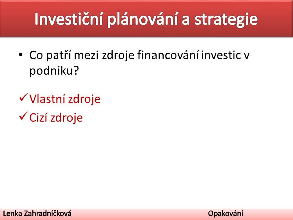 Co patří mezi zdroje financování investic v podniku Vlastní zdroje Cizí zdroje