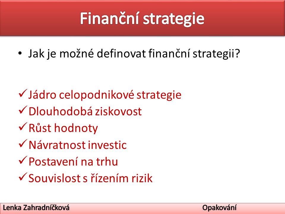 Jak je možné definovat finanční strategii.