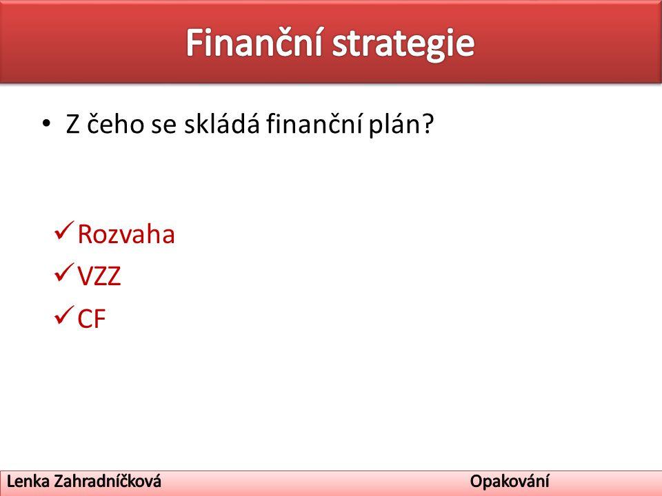 Z čeho se skládá finanční plán Rozvaha VZZ CF