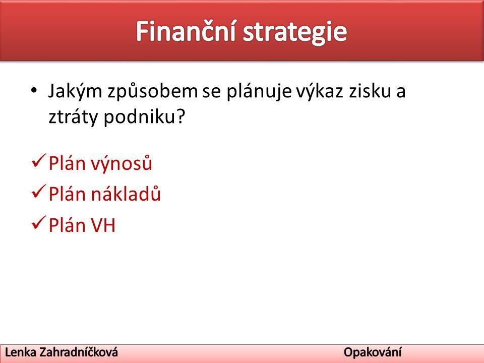 Jakým způsobem se plánuje výkaz zisku a ztráty podniku Plán výnosů Plán nákladů Plán VH
