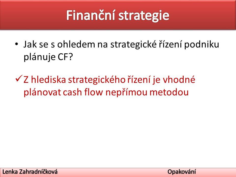 Jak se s ohledem na strategické řízení podniku plánuje CF.