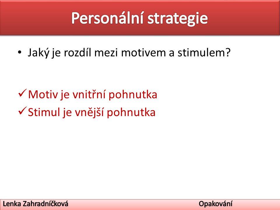 Jaký je rozdíl mezi motivem a stimulem Motiv je vnitřní pohnutka Stimul je vnější pohnutka