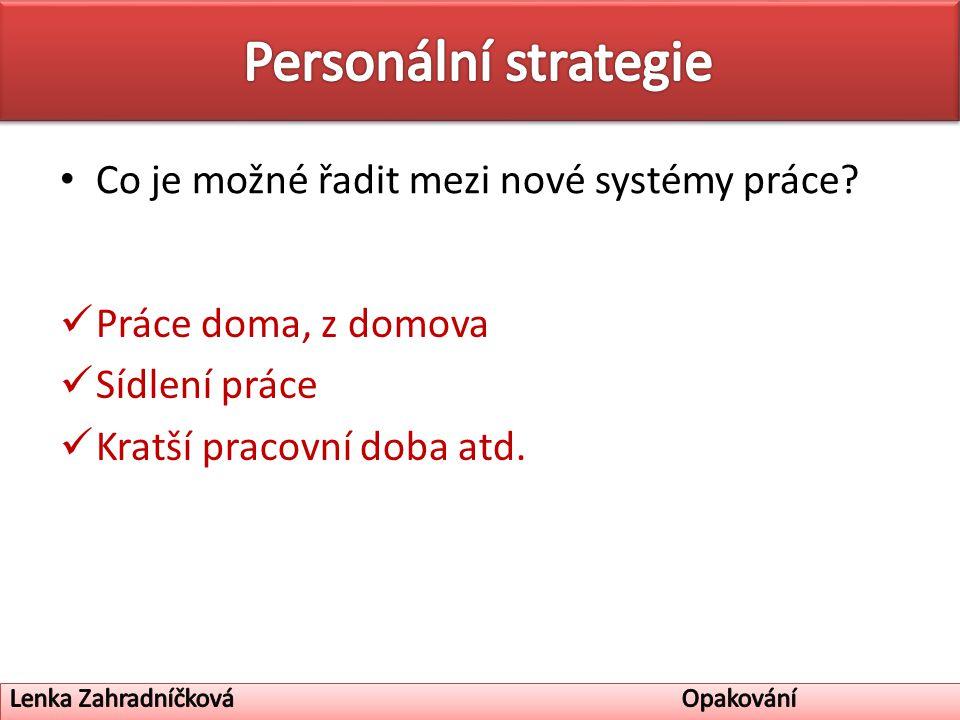 Co je možné řadit mezi nové systémy práce.