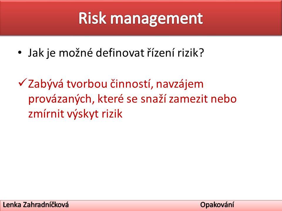 Jak je možné definovat řízení rizik.