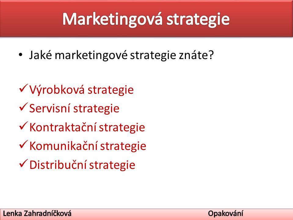 Jaké marketingové strategie znáte.