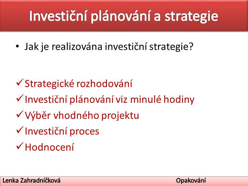 Jak je realizována investiční strategie.