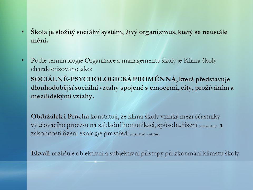Škola je složitý sociální systém, živý organizmus, který se neustále mění. Podle terminologie Organizace a managementu školy je Klima školy charakteri