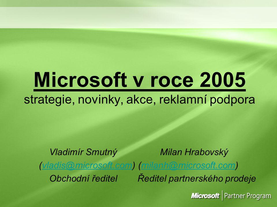 Microsoft v roce 2005 strategie, novinky, akce, reklamní podpora Vladimír Smutný Milan Hrabovský (vladis@microsoft.com) (milanh@microsoft.com)vladis@m
