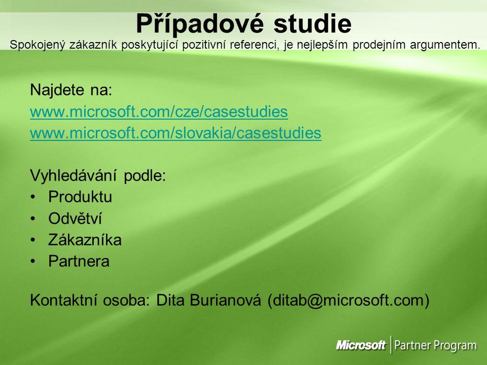 Případové studie Spokojený zákazník poskytující pozitivní referenci, je nejlepším prodejním argumentem. Najdete na: www.microsoft.com/cze/casestudies