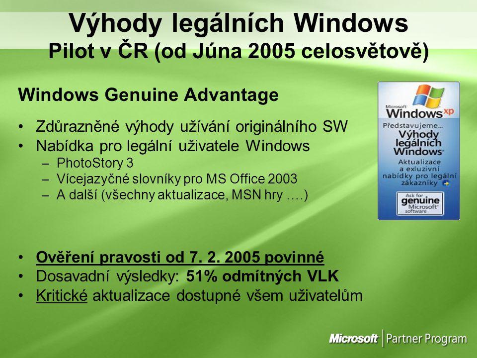 Výhody legálních Windows Pilot v ČR (od Júna 2005 celosvětově) Windows Genuine Advantage Zdůrazněné výhody užívání originálního SW Nabídka pro legální
