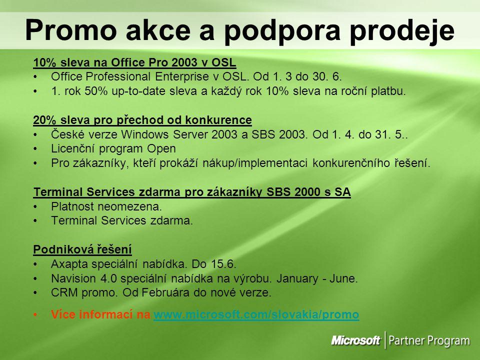 Promo akce a podpora prodeje 10% sleva na Office Pro 2003 v OSL Office Professional Enterprise v OSL. Od 1. 3 do 30. 6. 1. rok 50% up-to-date sleva a