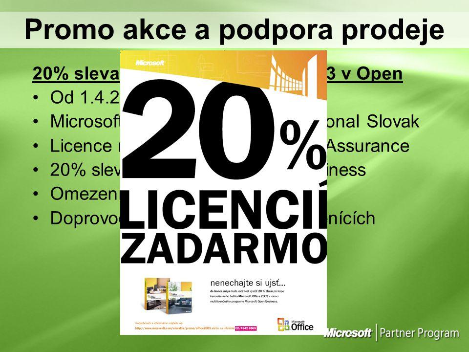 Promo akce a podpora prodeje 20% sleva na Microsoft Office 2003 v Open Od 1.4.2005 do 31.5.2005 Microsoft Office Standard Professional Slovak Licence