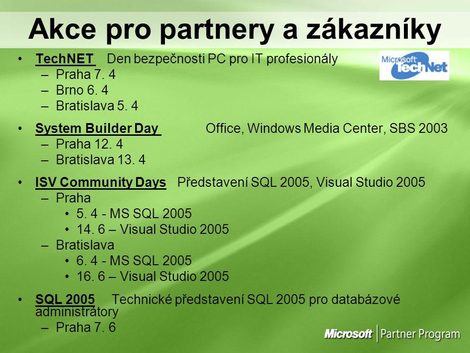 Akce pro partnery a zákazníky TechNET Den bezpečnosti PC pro IT profesionály –Praha 7. 4 –Brno 6. 4 –Bratislava 5. 4 System Builder Day Office, Window