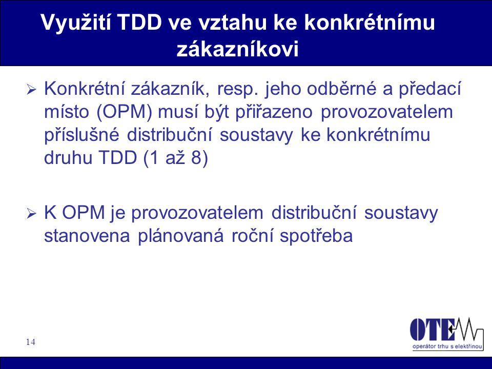 14 Využití TDD ve vztahu ke konkrétnímu zákazníkovi  Konkrétní zákazník, resp. jeho odběrné a předací místo (OPM) musí být přiřazeno provozovatelem p