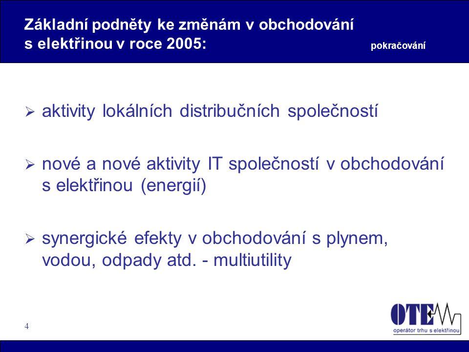 4 Základní podněty ke změnám v obchodování s elektřinou v roce 2005: pokračování  aktivity lokálních distribučních společností  nové a nové aktivity
