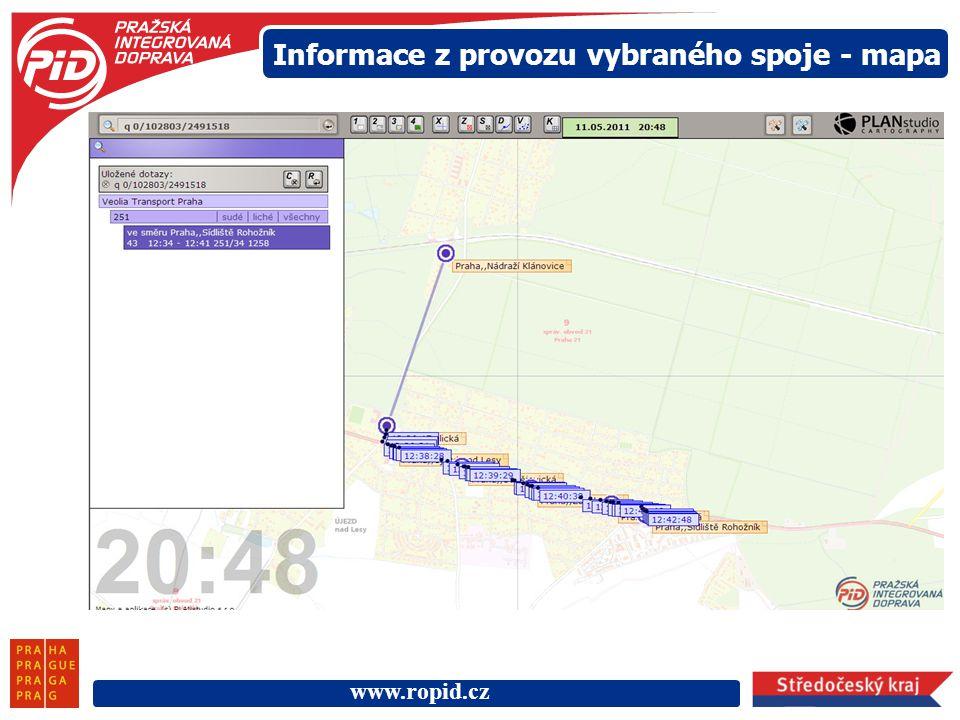 www.ropid.cz Informace z provozu vybraného spoje - mapa