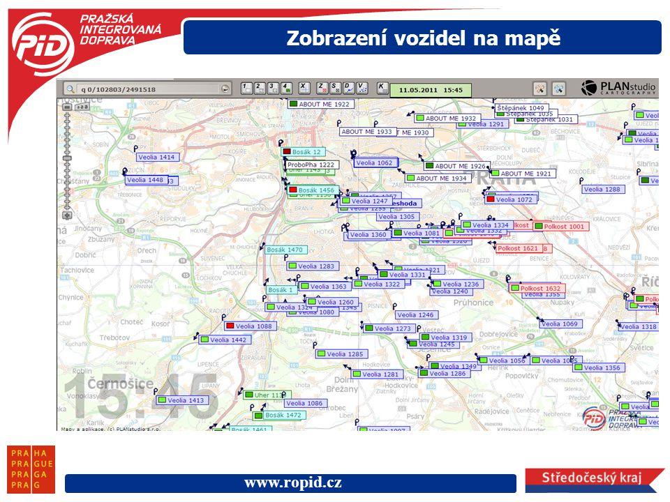 www.ropid.cz Zobrazení vozidel na mapě