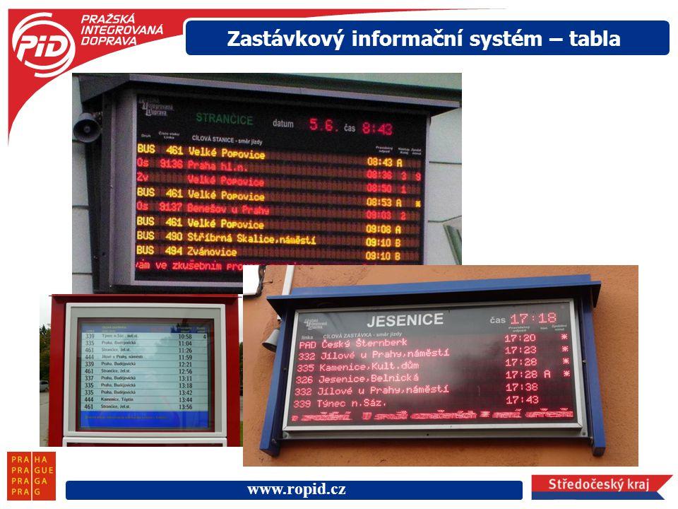 www.ropid.cz Zastávkový informační systém – tabla