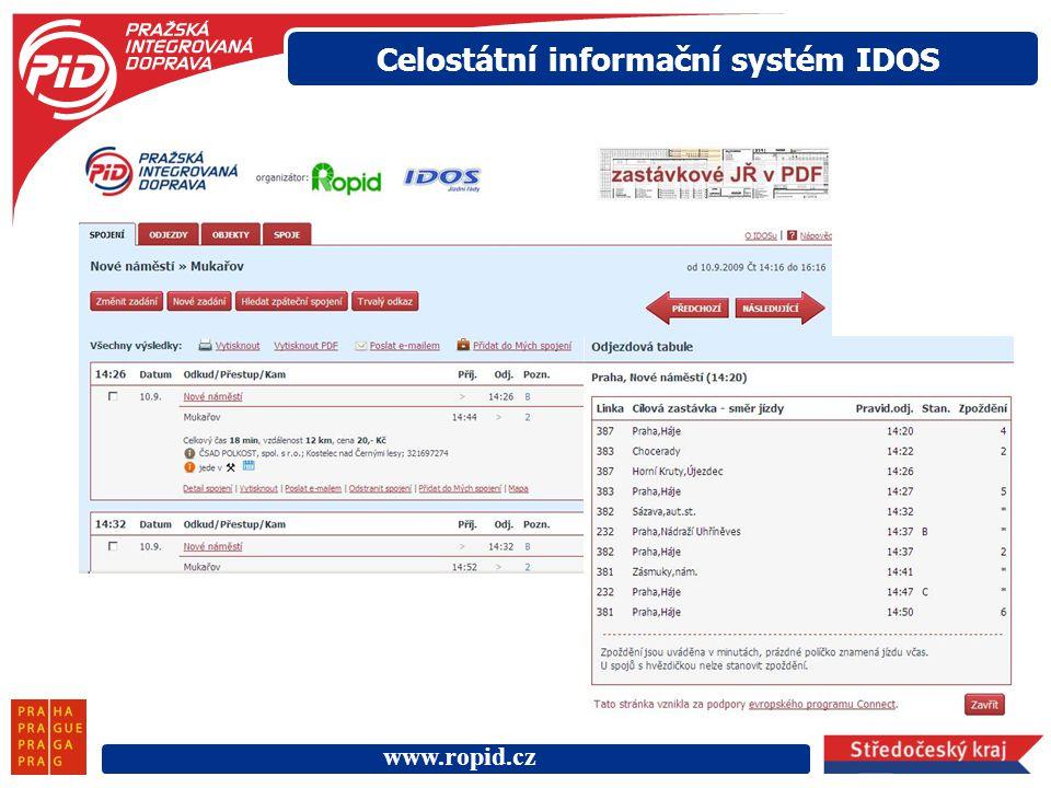 www.ropid.cz Celostátní informační systém IDOS