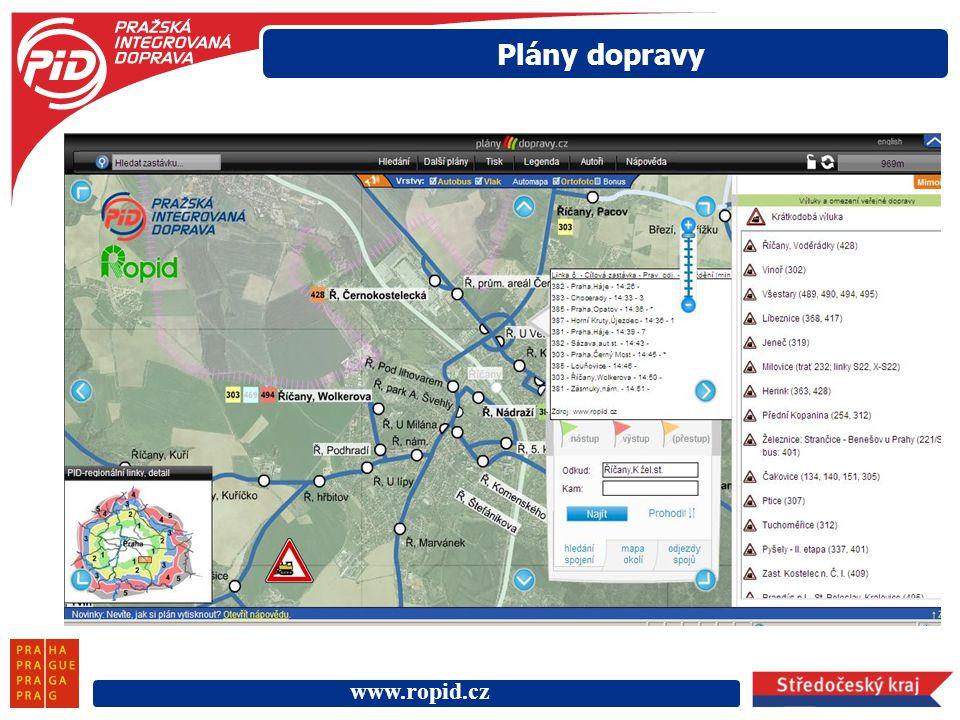 www.ropid.cz Plány dopravy