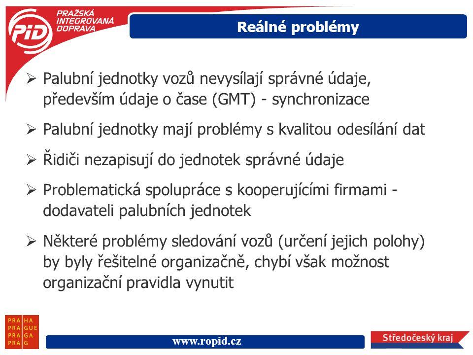 www.ropid.cz Reálné problémy  Palubní jednotky vozů nevysílají správné údaje, především údaje o čase (GMT) - synchronizace  Palubní jednotky mají pr