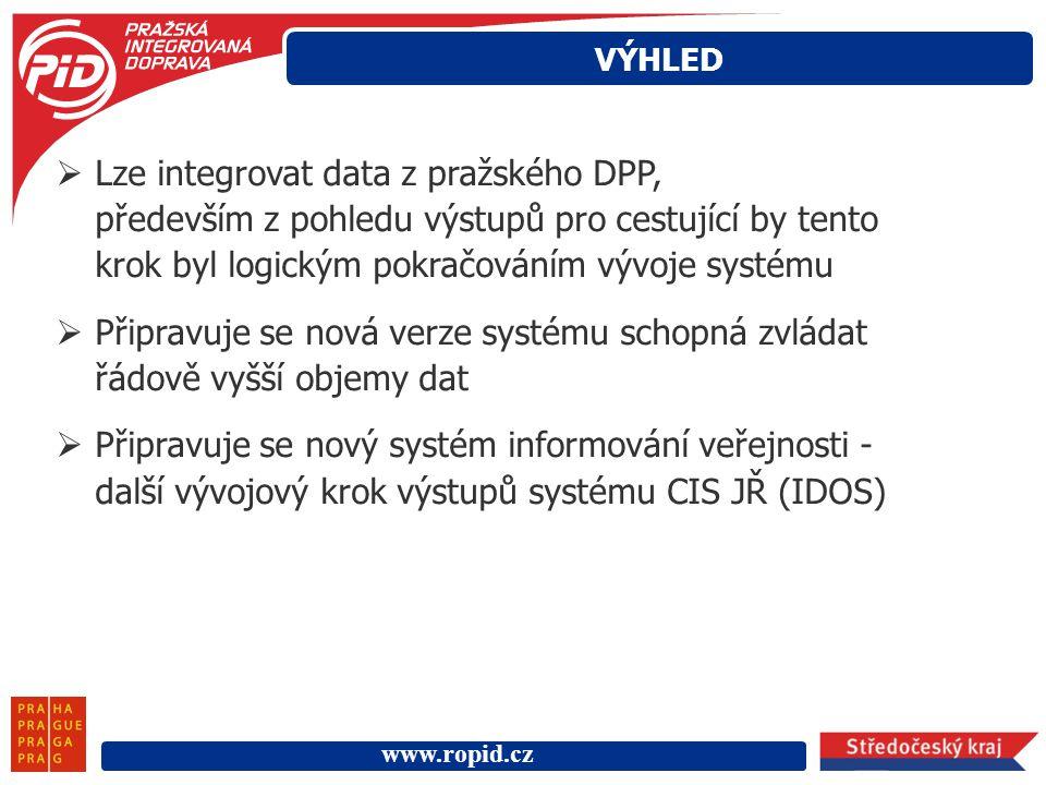 www.ropid.cz  Lze integrovat data z pražského DPP, především z pohledu výstupů pro cestující by tento krok byl logickým pokračováním vývoje systému 
