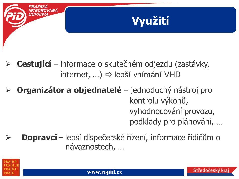 www.ropid.cz Využití  Cestující – informace o skutečném odjezdu (zastávky, internet, …)  lepší vnímání VHD  Organizátor a objednatelé – jednoduchý